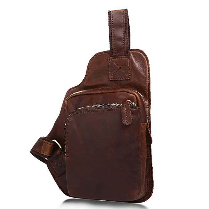 5e7cb01aefcd Mayshe Men s Genuine Leather Sling bag Cross body Bag Chest Bag Pack Sling  Shoulder Backpack for