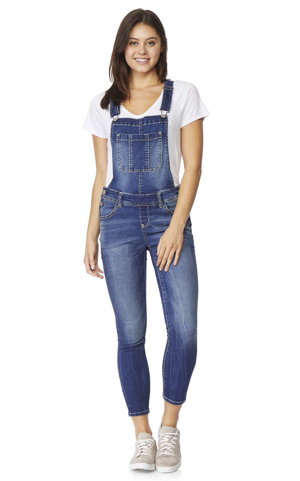 WallFlower Women's Juniors Denim Overalls in Anebelle, Medium