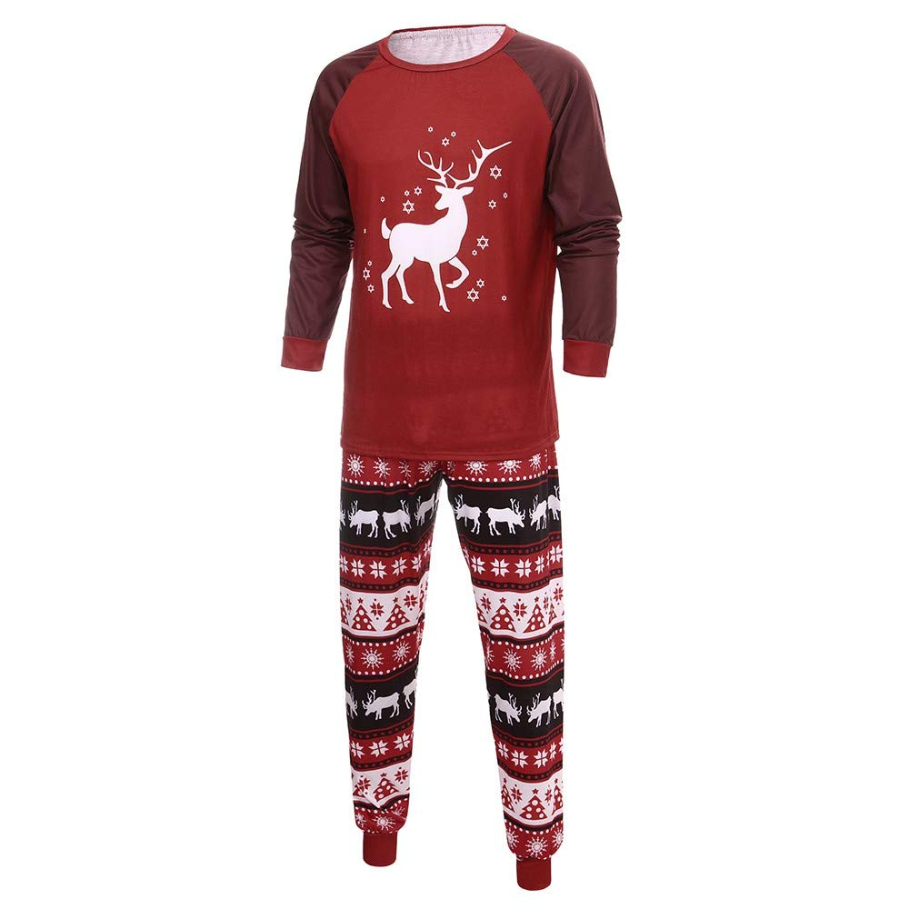 Christmas Pajamas for Family, Family Matching Sleepwear Pajamas PJ Sets Cartoon Deer Print Romper+Pants+Hat Tianjinrouyi