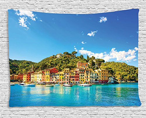 Village Decor Tapestry by Ambesonne, Mediterranean European Town by the Sea Portofino Italian Harbor Panorama, Wall Hanging for Bedroom Living Room Dorm, 80WX60L Inches, Blue (Italian Tapestry Wall Hanging)