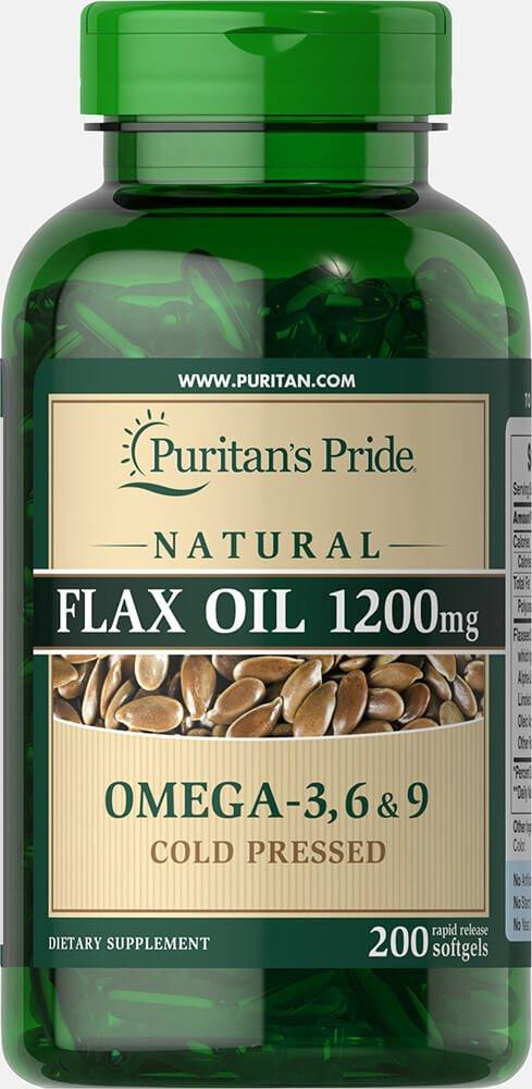 Puritan's Pride Natural Flax Oil 1200 mg-200 Rapid Release Softgels