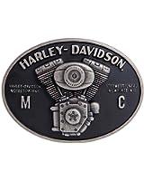 Harley-Davidson Men's Hot Rod V-Twin Belt Buckle, Antique Nickel HDMBU11094