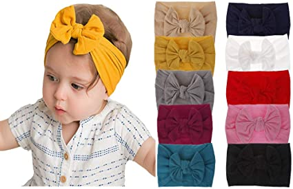 Bow Headband Toddler Turban Girls Knotted Kids Accessories Nylon Hair Band Baby