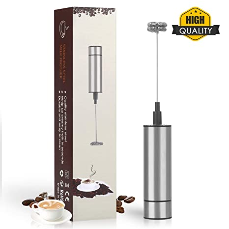 Aphse Electric Milk Frother Stainless Steel Touch Handheld Espresso Mixer Battery Operated Frother and Coffee Stirrer for Hot Chocolate Latte Coffee Milk Foamer