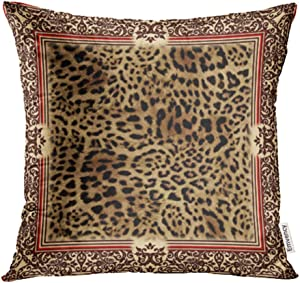 """Emvency Throw Pillow Cover Case Beautiful Wild Leo Pattern of with Leopard Skin Panther Shawl Animal Print Decorative Pillowcase 18""""x18""""(45cmX45cm) Case Cushion Cover for Bed Couch"""