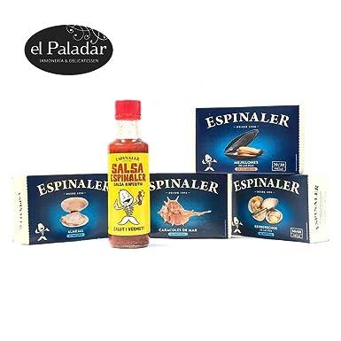 2 Packs Especiales Conservas Gourmet (Almejas, Berberechos, Mejillones,Caracoles, Salsa Espinaler