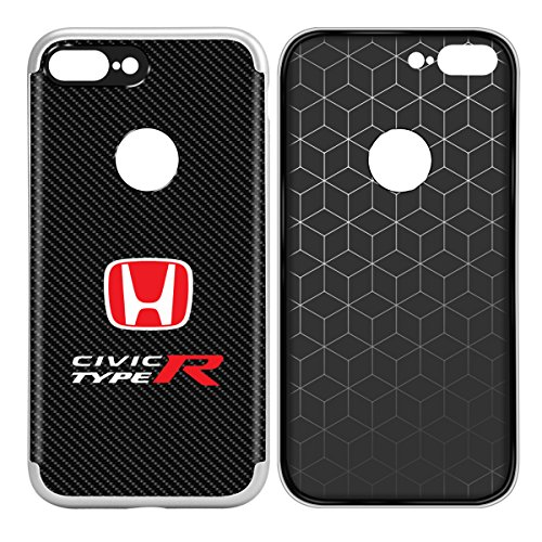 Honda Red Logo Civic Type-R iPhone 7 Plus Case Shockproof Black Carbon Fiber Textures Cell Phone Case