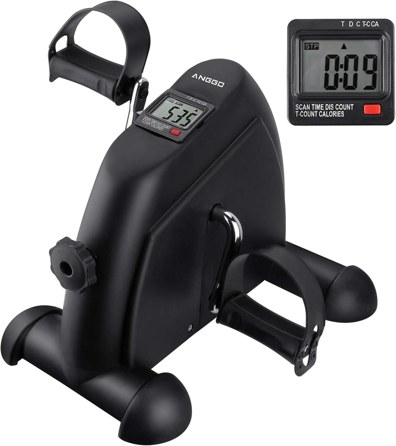 ANGGO Mini Bicicleta Estática, Pedales Estaticos para Entrenamiento de Brazos y Piernas, Pedaleador con LCD Pantalla y Resistencia Ajustable para Hacer Ejercicio en Casa con Alfombra Antideslizante