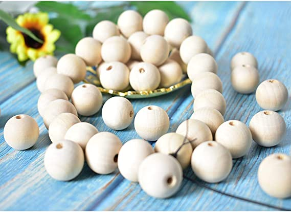 HUYOQ Natural Wood Round Beads Ball Loose Wooden Beads Unfinished Spacer Beads for DIY Crafts Handmade Jewelry Making Charms Supplies Bracelet Spacer 200pcs 16mm