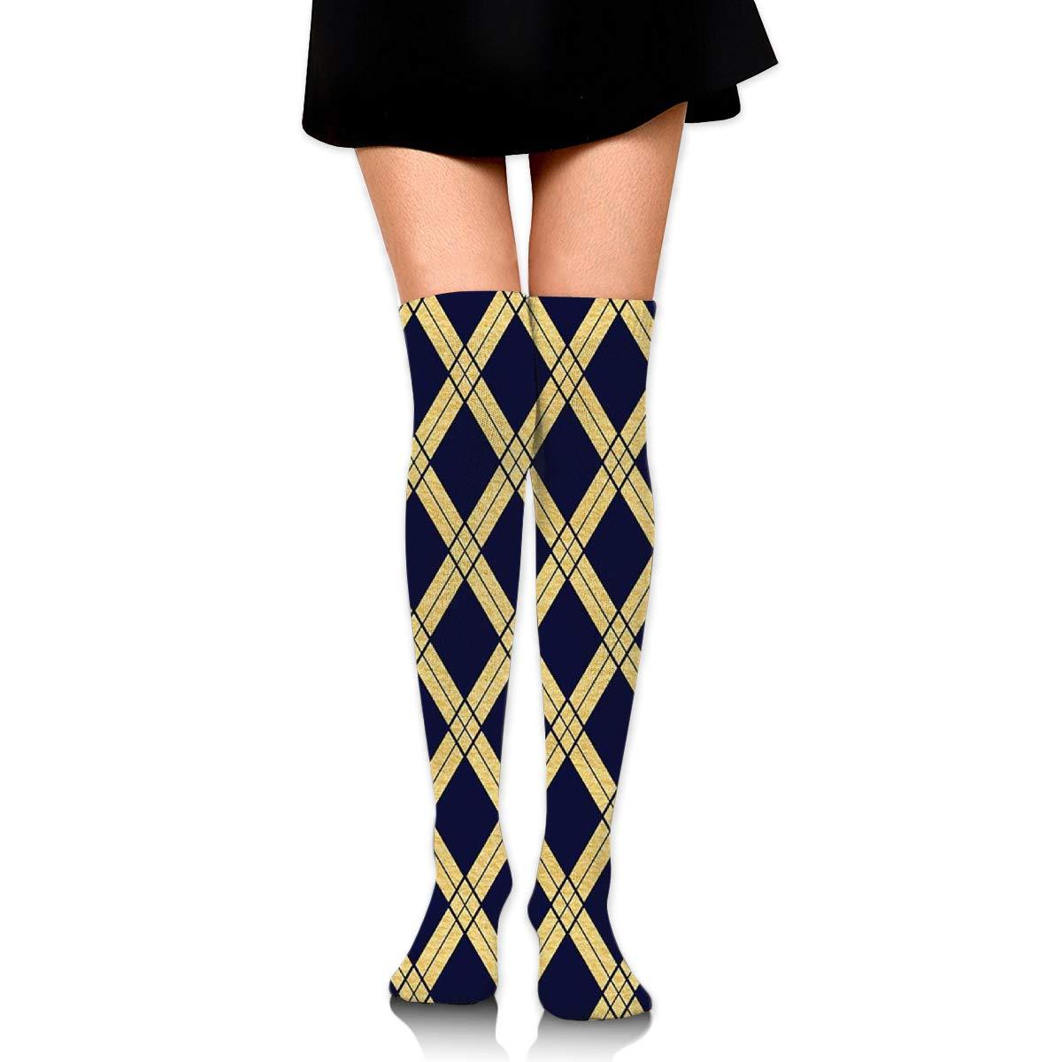 Knee-length Socks Navy Blue Dress With Gold LaceFashion Womens Knee Socks Dresses And Socks