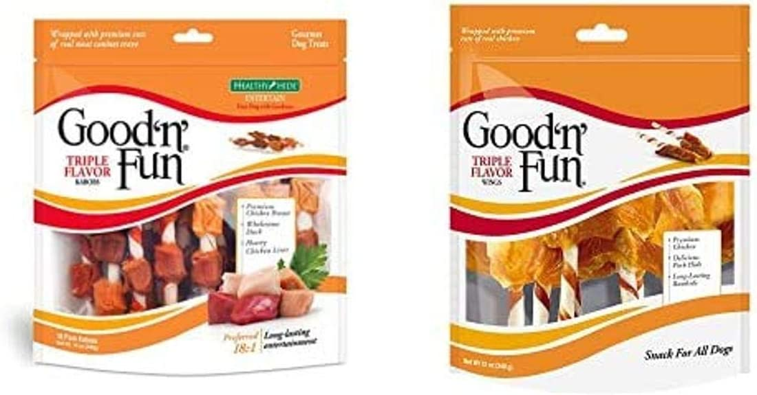 Good'N'Fun Triple Flavored Rawhide Kabob & Wing Treats for Dogs