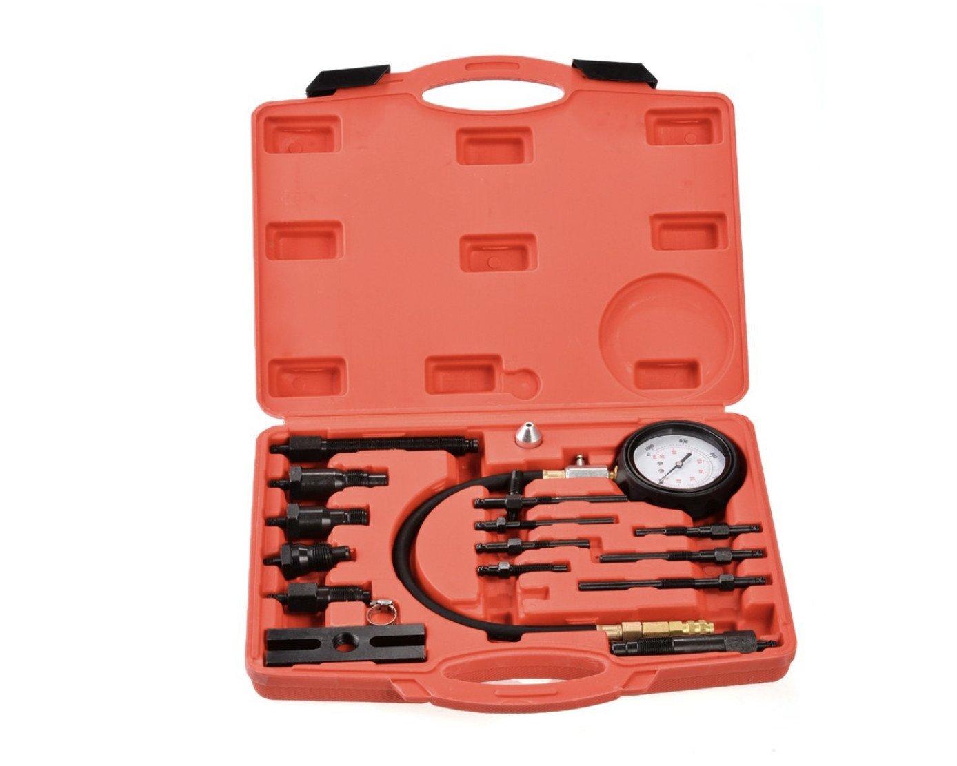 Coffret testeur de compression 17pcs Moteur diesel de compression pour moteurs Diesel (TDI et CDI) 0-70 bars Kit dans un coffret Witss