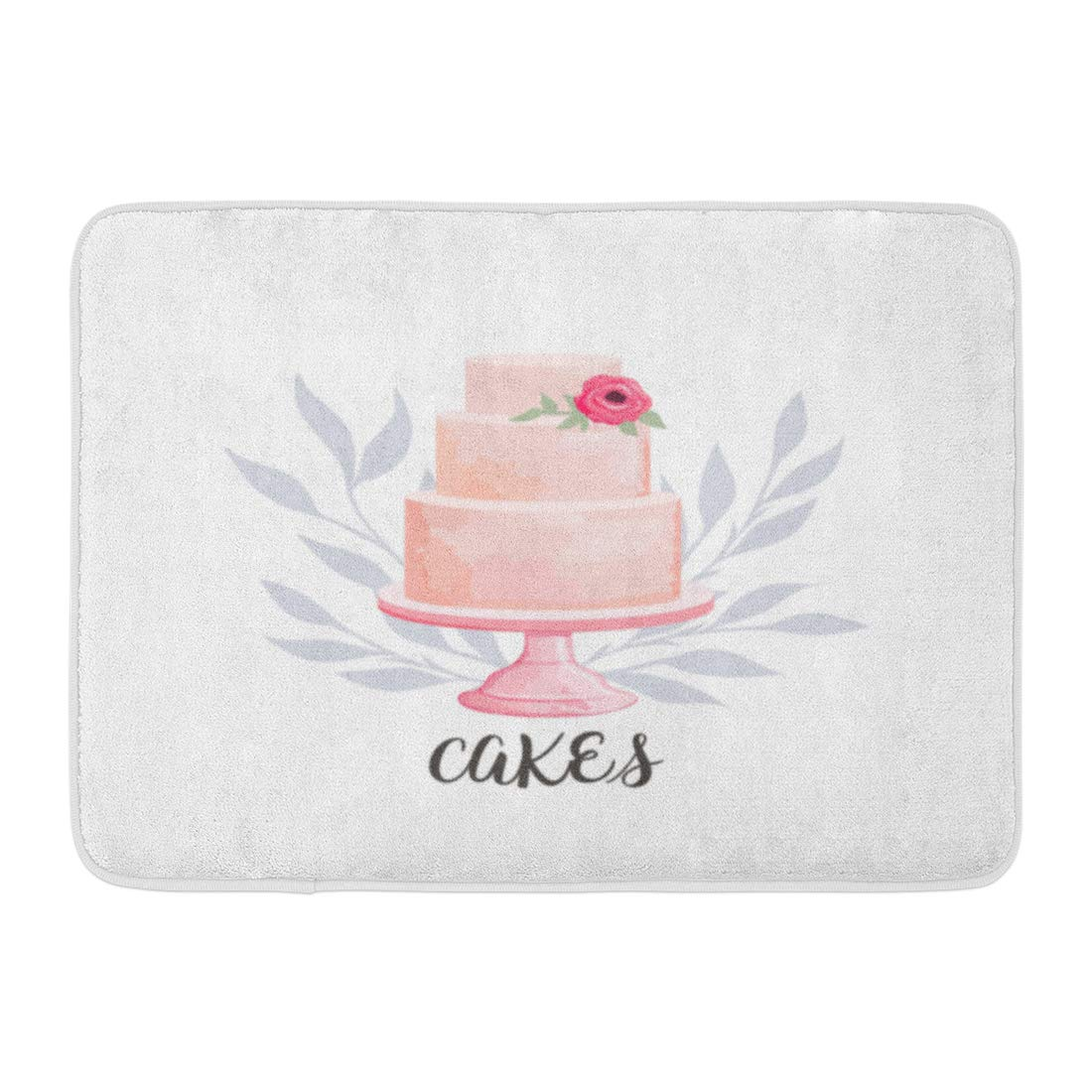 Emvency Bath Mat Badge Cream for Cake and Bakery with Floral Watercolor Style Flower Baked Bathroom Decor Rug 16'' x 24'' by Emvency