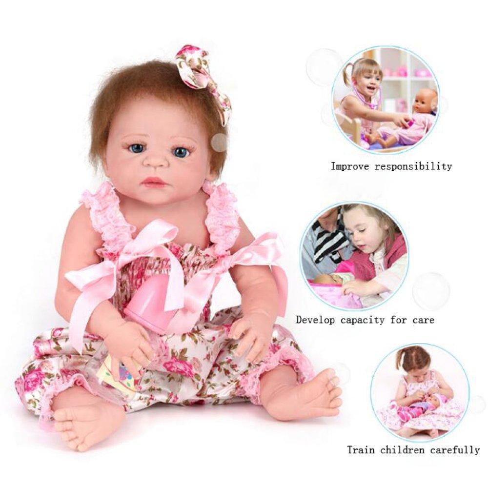 QXMEI Reborn Baby Puppen Handgemachte Lebensechte Realistische Silikon Vinyl Baby Puppe Weißhe Simulation 22 Zoll 55 cm Augen öffnen Mädchen Lieblings Geschenk