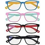 2/3/4 Piezas Gafas de Filtro de Luz Azul para Niños, Lentes Antirreflejos de Computadora Anteojos de Juego Antifatiga…