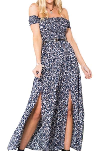 5bd9e22186c6b7 Luojida Sommerkleider Damen Lang Strand Abendkleid Schulterfrei Maxikleid  Elegant Sexy Blumendruck (L, Blau): Amazon.de: Bekleidung