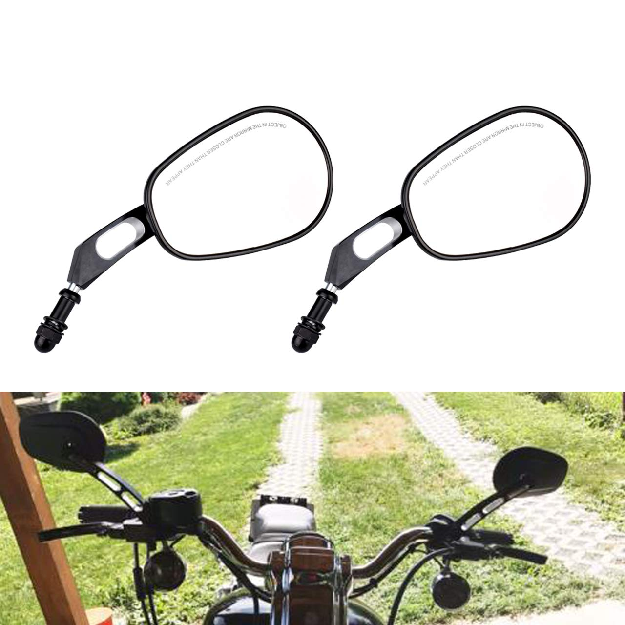 NATGIC 1 Pair 8MM Black View Side Mirrors for Harley Road King Touring XL883 Sportster 1200 Fatboy Road King Glide VRSCAW V-ROD Dyna Softail