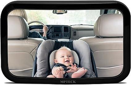 MPTECK @ Espejo retrovisor beb/é coche retrovisor Ajustable Irrompible espejo para vigilar al beb/é en el coche asientos de ni/ños orientados hacia atr/ás