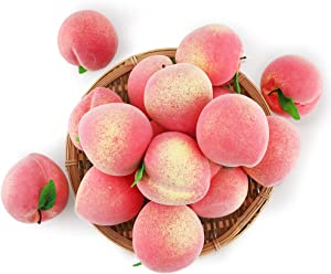 BigOtters 16PCS Artificial Fruit Peach, Fake Peach Artificial Lifelike Peach with Leaves Simulation Pink Peach Photo Props Party Home Kitchen Decor Food Toy
