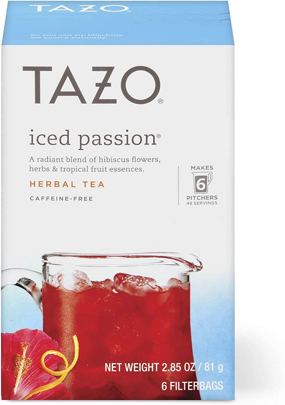 Tazo Herbal Tea Iced Tea Bags For a Refreshing Cold Beverage Iced Passion Caffeine-Free, 6 count, Pack of 4, Packaging may Vary: Health & Personal Care