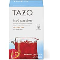 Tazo Herbal Tea Iced Tea Bags For a Refreshing Cold Beverage Iced Passion Caffeine-Free, 6 count, Pack of 4