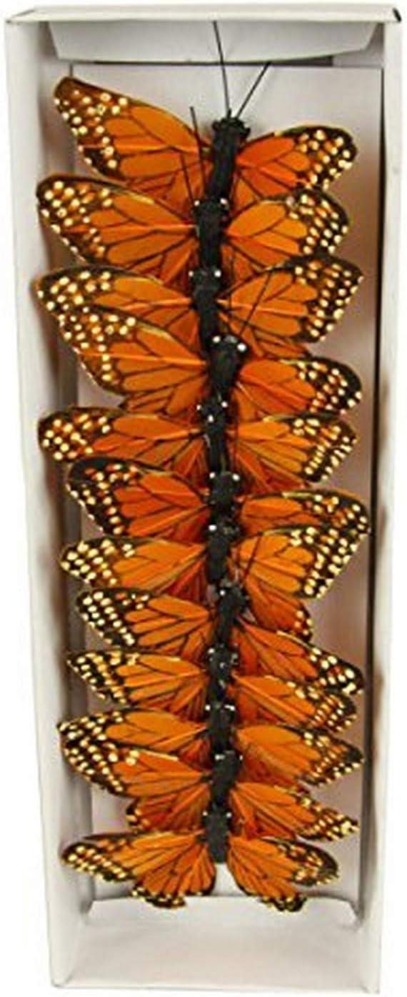 "Shinoda Design Center 0165500200 12 Piece Monarch Butterfly Decor, 3"", Orange"