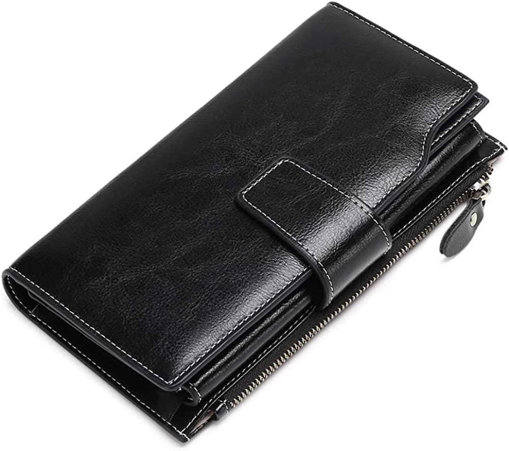 Women Wallets, RFID Protection Clutch Wallet Large Capacity Leather Long Trifold Card Holder by SENDEFN