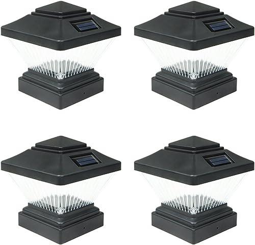 4 Pack Black Outdoor Garden 4 x 4 Solar LED Post Deck Cap Square Fence Light Landscape Lamp Lawn PVC Vinyl Wood