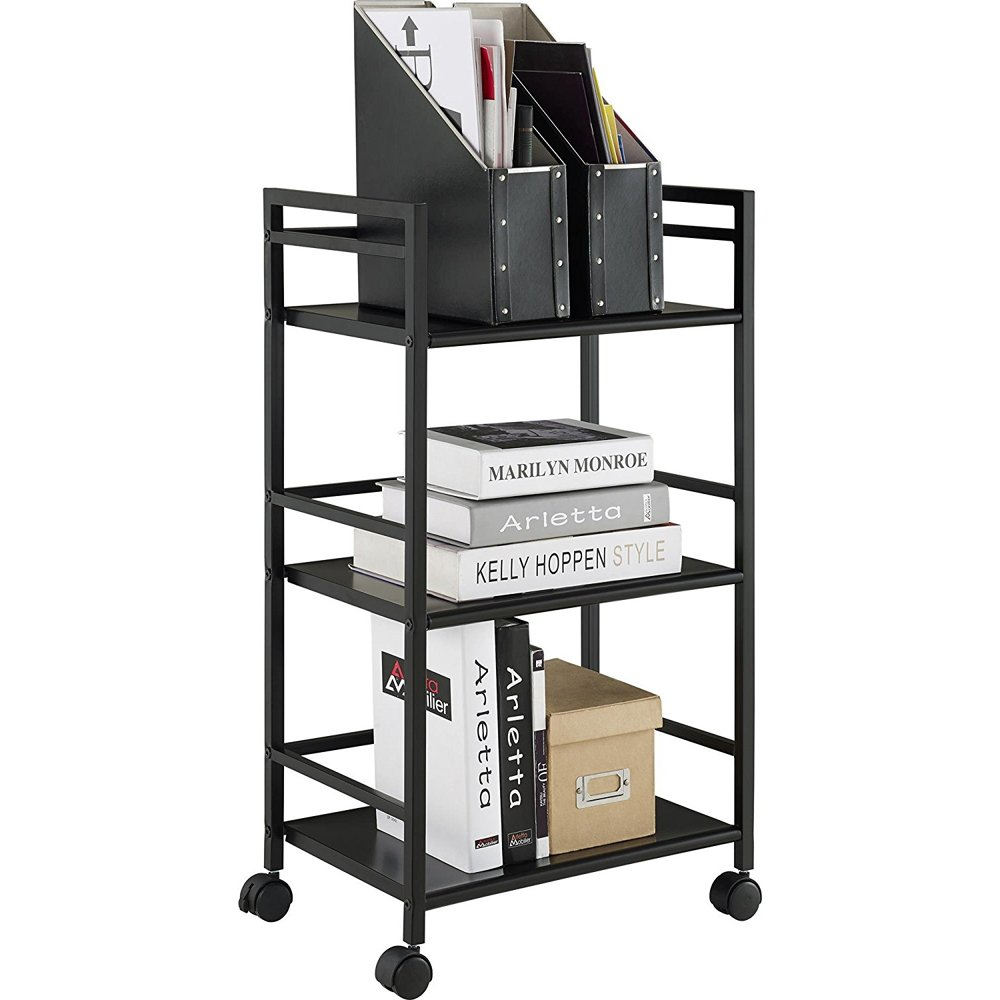 Bonnlo 3/4 Tiers Rolling Cart Wire Mess Kitchen Microwave Oven Rack Shelving Unit Adjustable Storage Shelves 23.6'' L x 12.6'' W x 29.53'' H (Black, 3 Tiers)