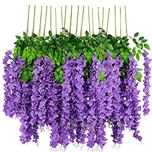 HanYun Wisteria Flowers,Fake Wisteria,Silk Wisteria,Hanging Wisteria Flowers,12 Pack 3.6 Feet/Piece Wisteria Artificial Flowers for Outdoor Wedding Ceremony Arch Party Home Garden Decor 98