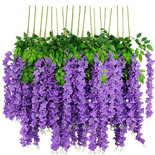 12pcs Artificial Wisteria Flowers 3.6 Feet/Piece Purple Dense Artificial Fake Wisteria Vine Ratta Hanging Garland Silk Flowers String Home Party Wedding Decor(Purple-Dense)