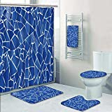 UHOO2018 5-Piece Bath Set Hotel Collection with Bath Rug, Shower Curtain, and Bath Towel, blue trencadis broken tiles mosaic from Mediterranean in Valencia Spain Decorate the bathroom