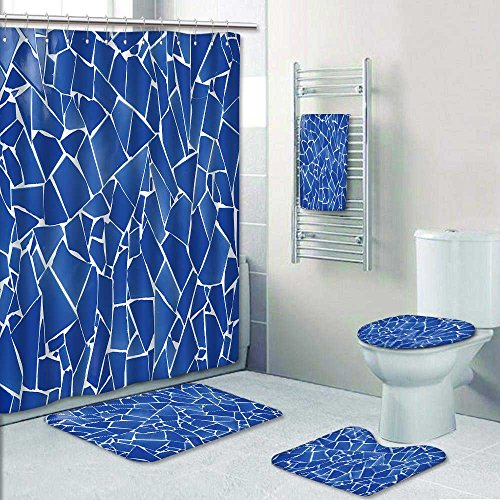 UHOO2018 5-Piece Bath Set Hotel Collection with Bath Rug, Shower Curtain, and Bath Towel, blue trencadis broken tiles mosaic from Mediterranean in Valencia Spain Decorate the bathroom by UHOO2018