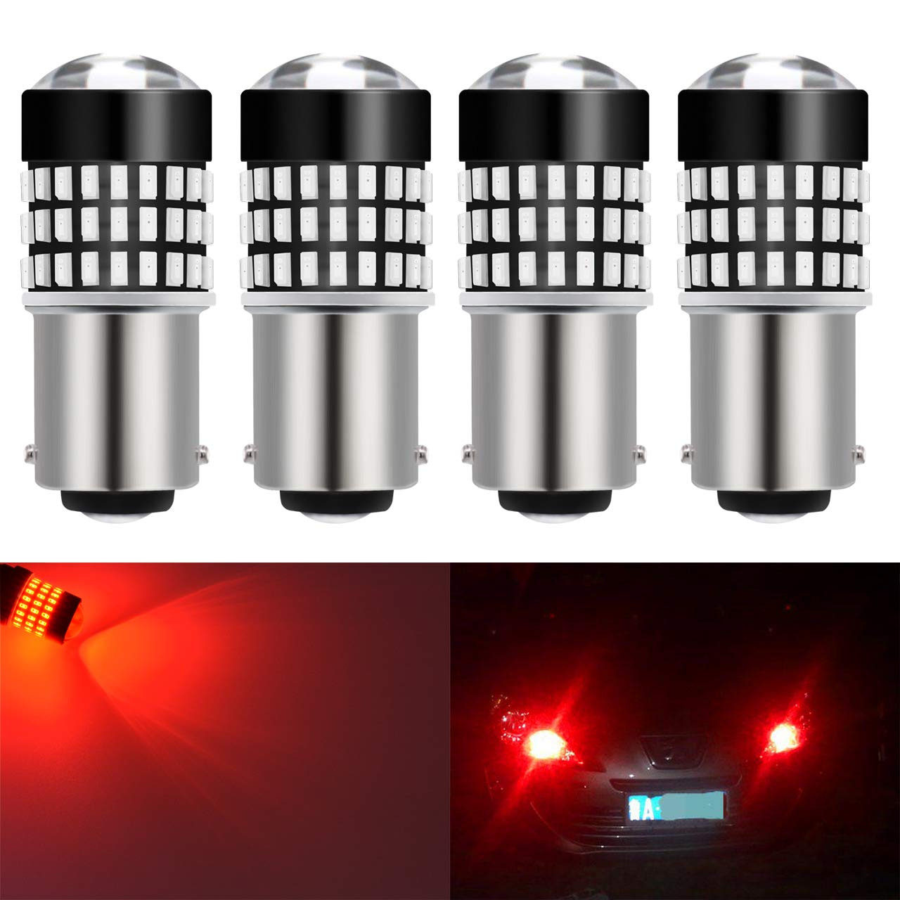 KaTur 2pcs 900 Lumens 7443 7444NA 7440 7440NA 992 Base Super Bright 3014 78SMD Lens LED Bulbs Brake Turn Signal Tail Backup Reverse Brake Light Lamp Red 12V 4W 2AM-CL-374-7443-Red