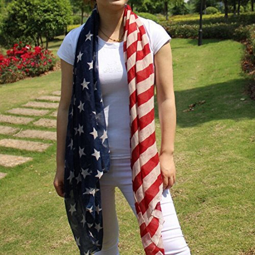 Ebuyingcity Stars and Stripes Large Patriotic Nautical American Scarf Fashion Charming US Star Flag Shawl Wrap, Sarong