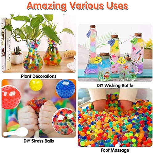 Bivan Colorful Water Beads, 50000 PCS Gel Soil Water Crystal Beads Non Toxic Sensory Mixed Water Balls Silicone Orbs For Plant Vase Filler for Home Decorations (Included 10 Balloons)