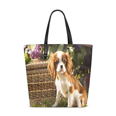 Amazon.com | Cute Pet Cavalier King Charles Spaniel Tote Bag ...