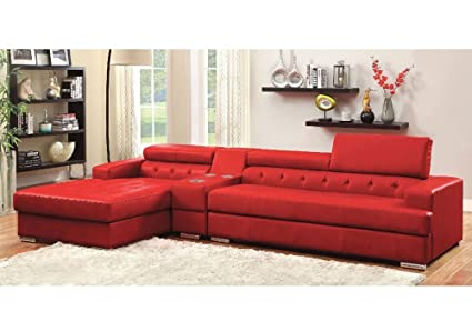 Simple Relax Floria L Shaped Sectional Sofa Bonded Leather Lift Headrest  Console Bluetooth Red