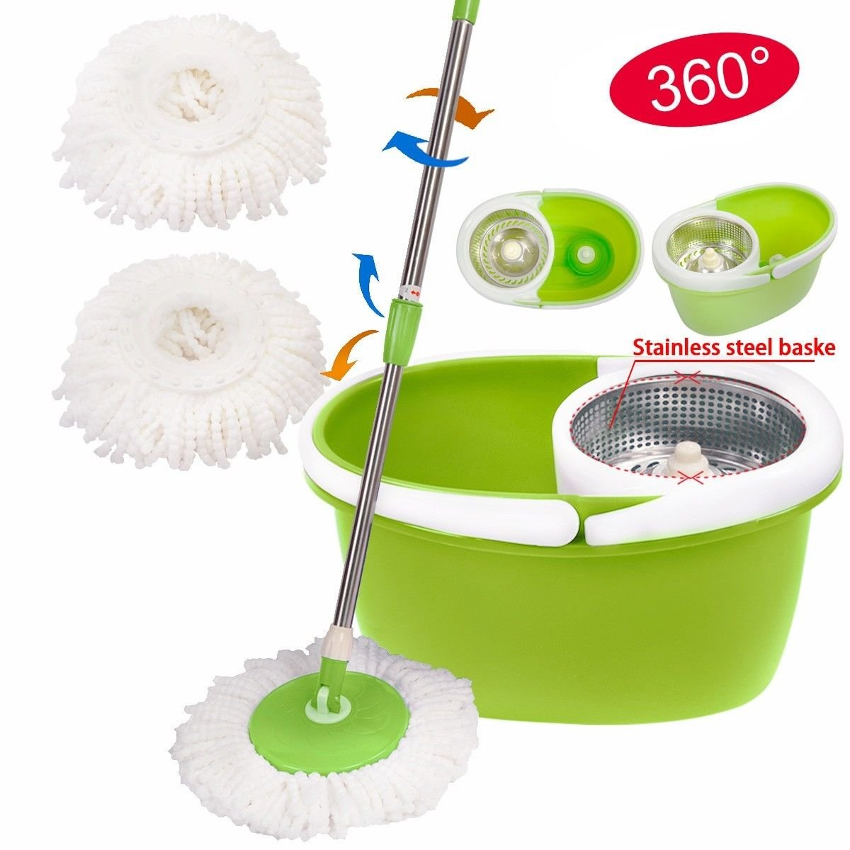 Generic YanHong150720-261 8yh1255yh ucket 2 Heads Stainless Steel ydrate Bask 360¡ã Rotating 360¡ã Rota Dehydrate Basket op Stainl Magic Spin Mop g Magic S W/Bucket 2 Heads