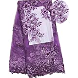 New new design french net lace fabric with beads+stones top quality african 3d tulle lace fabric (Purple)