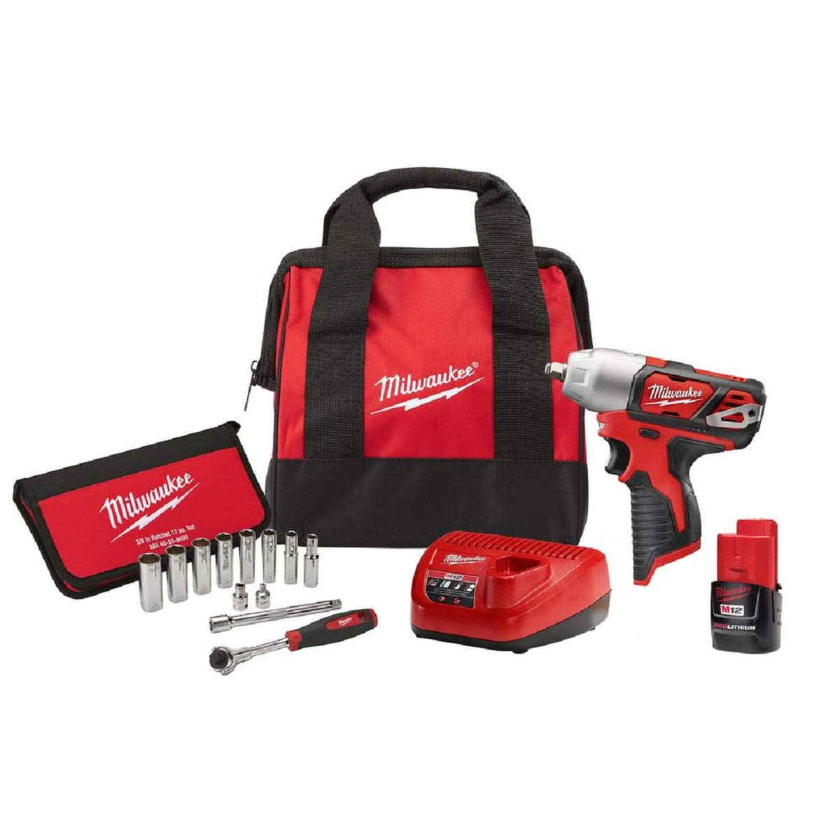 Milwaukee 2463-21P M12 12-Volt Lithium-Ion 3 8 in. Cordless Impact Wrench Kit With 3 8 in
