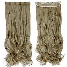 Ash Blonde 27 Inches Curly One Piece Clip in Hair Extensions (3/4 Full Head 5 Clips) Clip Ins Hairpiece for Women Lady Girl