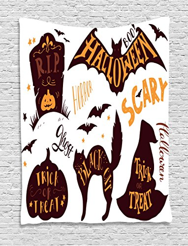 Vintage Halloween Tapestry by Ambesonne, Halloween Symbols Trick or Treat Bat Tombstone Ghost Candy Scary, Wall Hanging for Bedroom Living Room Dorm, 60 W X 80 L Inches, Dark Brown Orange