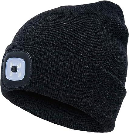 ausuky Unisex LED Beanie Lighted Cap Winter Warm Flashlight Style Camping Ski Lamp Hat