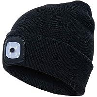 Rechargeable LED Beanie Cap, Mofek Hands Free LED Flashlight Lighted Headlamp Hat, Warmer Knit Cap Hat (Black)
