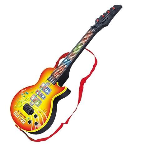 MRKE Guitarra Electrica Niños 4 Cuerdas Guitarra Juguete con Luces y 8 Música