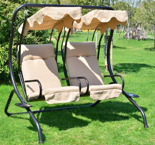 Outsunny Outdoor Garden Patio Covered Double Swing with Frame, Sand by Outsunny