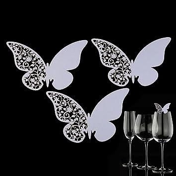 Anysell 50 Pcs Papillon De La Dcoupe Place Escort Fte Mariage Verre Vin Cartes