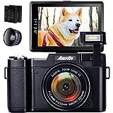 デジカメ デジタルカメラ HD 1080p 24.0MP 高画質 自撮りカメラ 180度反転画面 55mm超広角レンズくて 2つの800mAh充電式リチウムイオン電池が付属