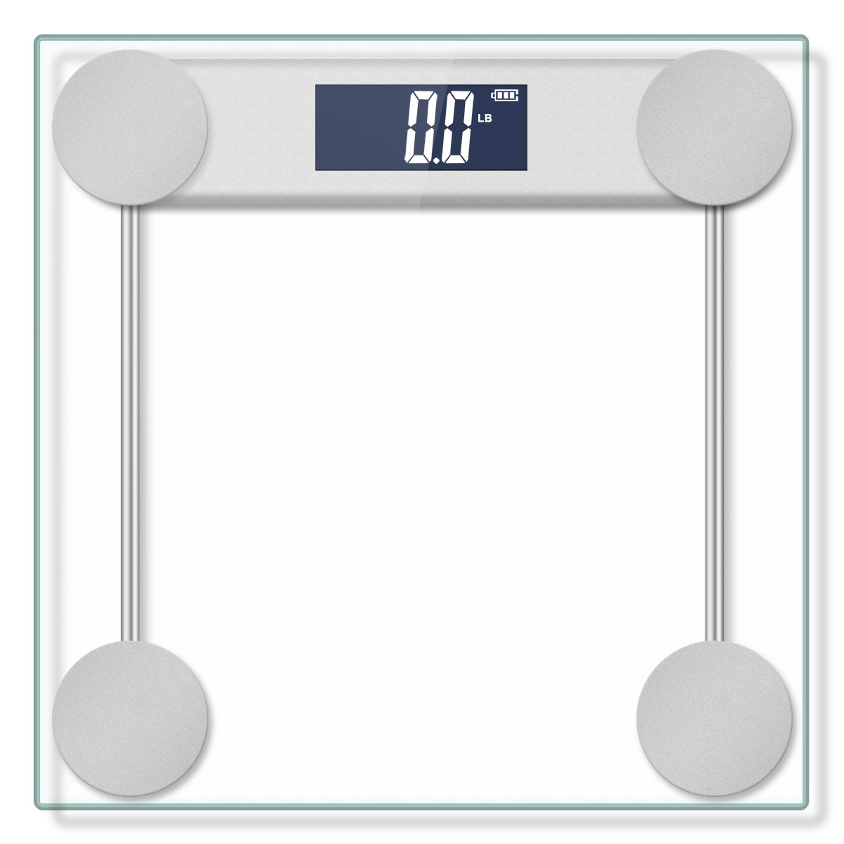 Electronic Bathroom Scale with Tempered Right Angle Glass Balance Platform and Advanced Step-On Technology, Digital Weight Scale has Large Easy Read